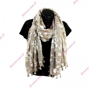 Grand foulard taupe brodé fleurs blanches pompons